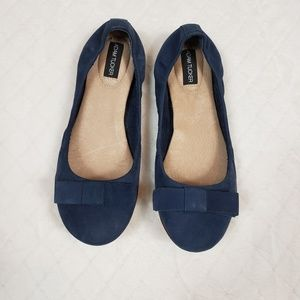 ADAM TUCKER Blue Nubuck Leather Bow Flats